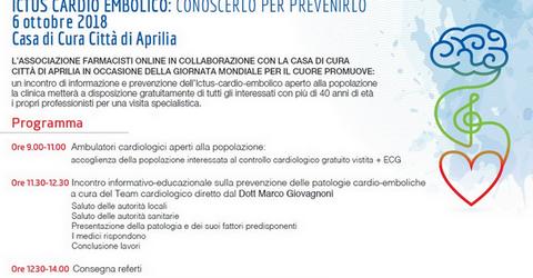 Aprilia, 3 ottobre 2018 screening gratuiti Giornata Mondiale del Cuore